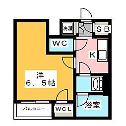 ザ・レジデンス・オブ・トーキョーT12 4階1Kの間取り
