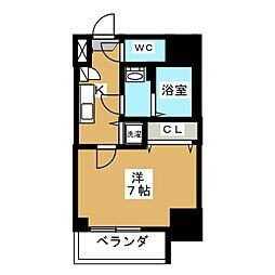 エスプレイス鶴舞ガーデンテラス 14階1Kの間取り