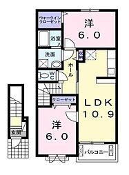 サンルミエールE[2階]の間取り