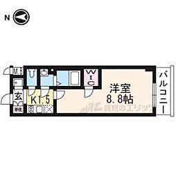 エスプレイス京都RAKUNAN302 3階1Kの間取り