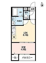 名古屋市営上飯田線 上飯田駅 徒歩9分の賃貸アパート 3階1LDKの間取り