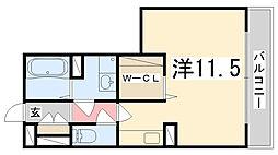 兵庫県姫路市飾磨区構1丁目の賃貸アパートの間取り