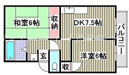 岡山県岡山市南区浦安西町の賃貸アパートの間取り