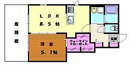 サンライズハイム 1階1LDKの間取り