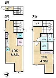 マーレ鷺宮(サギノミヤ)-2F 2階1LDKの間取り