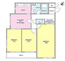 東急東横線 学芸大学駅 徒歩8分の賃貸マンション 1階3DKの間取り