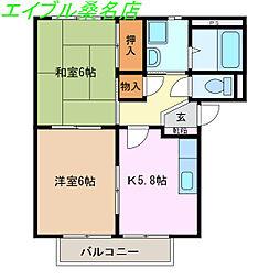 サープラスYAMADA B棟 2階2Kの間取り