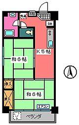 宇田川ビル[602号室]の間取り