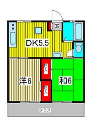 錦ハイツB[111号室]の間取り