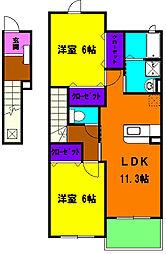 静岡県磐田市千手堂の賃貸アパートの間取り