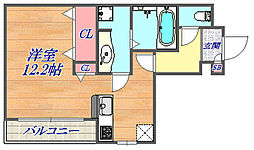 テラコート北野坂 1階ワンルームの間取り