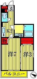 埼玉県越谷市伊原1丁目の賃貸アパートの間取り