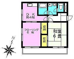 笹木コーポ[302号室]の間取り