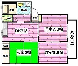 広島県広島市安芸区中野東5丁目の賃貸アパートの間取り