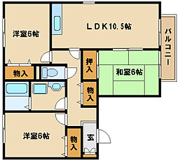 兵庫県神戸市西区玉津町高津橋の賃貸アパートの間取り