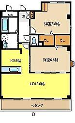 愛知県名古屋市名東区高針荒田の賃貸マンションの間取り