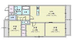 北大阪急行電鉄 桃山台駅 徒歩12分の賃貸マンション 5階3LDKの間取り