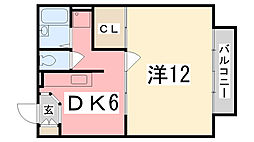 兵庫県姫路市田寺2丁目の賃貸アパートの間取り