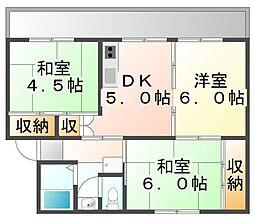 香川県坂出市府中町の賃貸マンションの間取り