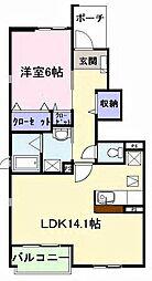ミゾノカワB[1階]の間取り
