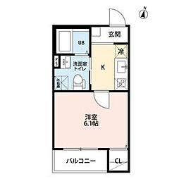 名古屋市営上飯田線 上飯田駅 徒歩10分の賃貸アパート 1階1Kの間取り