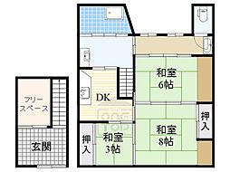 赤川4丁目戸建 2階3DKの間取り