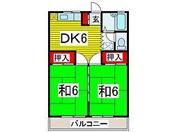 埼玉県川口市三ツ和1丁目の賃貸アパートの間取り