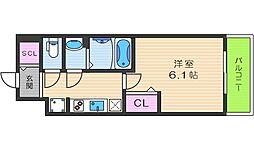 プレサンスTHE TENNOJI 逢坂トゥルー 10階1Kの間取り