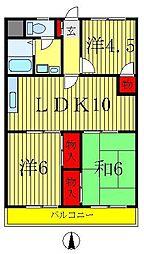 ニュー松戸コーポF棟[3階]の間取り