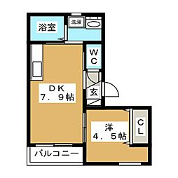 JR山手線 五反田駅 徒歩8分の賃貸マンション 2階1DKの間取り