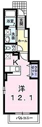 JR八高線 箱根ヶ崎駅 徒歩19分の賃貸アパート 1階1Kの間取り