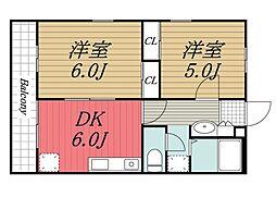 エントピア成田湯川[204号室]の間取り