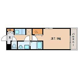 近鉄橿原線 畝傍御陵前駅 徒歩5分の賃貸アパート 1階1Kの間取り