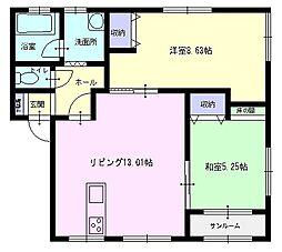 秋田県横手市八幡字上長田の賃貸アパートの間取り