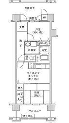 JR大阪環状線 森ノ宮駅 徒歩8分の賃貸マンション 13階2DKの間取り