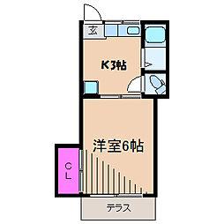 神奈川県川崎市中原区木月大町の賃貸アパートの間取り