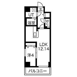 名古屋市営名城線 ナゴヤドーム前矢田駅 徒歩16分の賃貸マンション 13階1LDKの間取り
