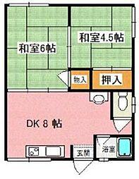 大阪府枚方市小倉町の賃貸アパートの間取り