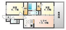 岡山県岡山市中区平井3丁目の賃貸アパートの間取り