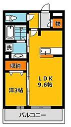 栃木県宇都宮市駒生2丁目の賃貸アパートの間取り