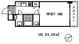 ワールドアイ神戸湊町 4階1Kの間取り