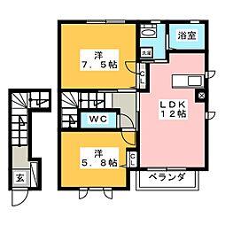 アプリコットハウス A[2階]の間取り