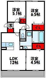 セリシールA棟 1階3LDKの間取り