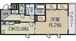 南海線 泉大津駅 徒歩6分の賃貸マンション 3階1DKの間取り