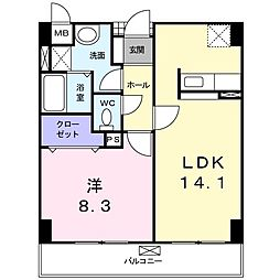 大阪府八尾市高砂町5丁目の賃貸マンションの間取り