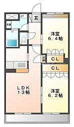 岡山県岡山市北区久米の賃貸マンションの間取り