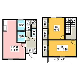 [テラスハウス] 茨城県水戸市千波町 の賃貸【/】の間取り