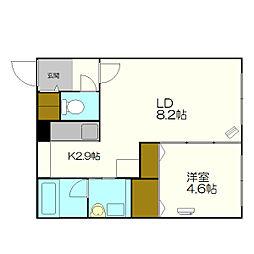 北海道札幌市厚別区厚別西三条2丁目の賃貸マンションの間取り