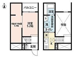 愛知県名古屋市南区滝春町の賃貸アパートの間取り