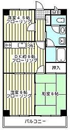 マツモリマンション 3階3DKの間取り